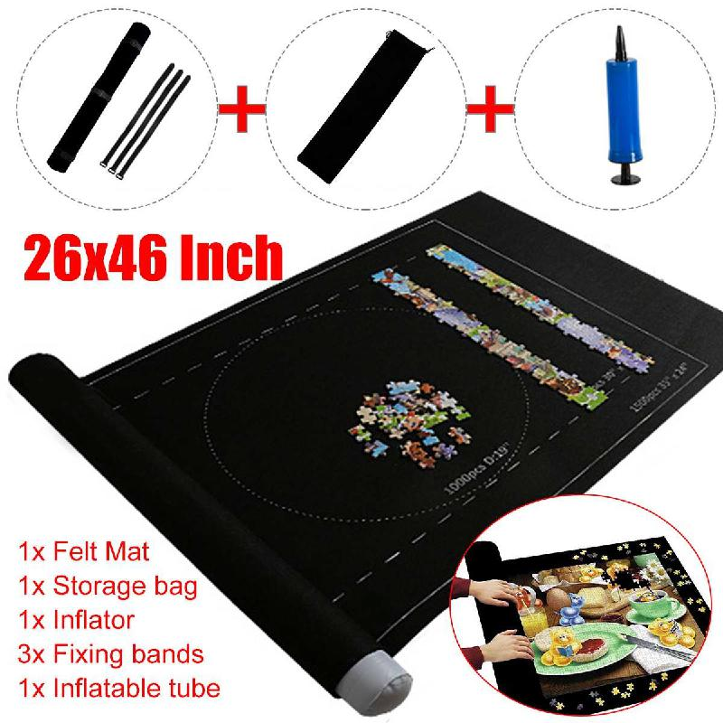 Jigsaw Roll Felt Mat Can Accommodate  For Up To 1500 Pieces Puzzle Accessories Portable Travel Storage Bag Crawling Mat Baby Toy