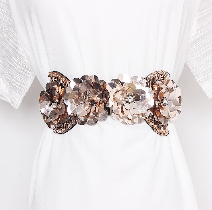 Women's Runway Fashion Sequins Flower Beaded Elastic Cummerbunds Female Dress Corsets Waistband Belts Decoration Wide Belt R2844
