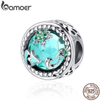 BAMOER, moda nueva, Plata de Ley 925 auténtica, Mystery Ocean Charms Beads fit, pulseras de encanto para mujeres, joyería de piedra DIY SCC246