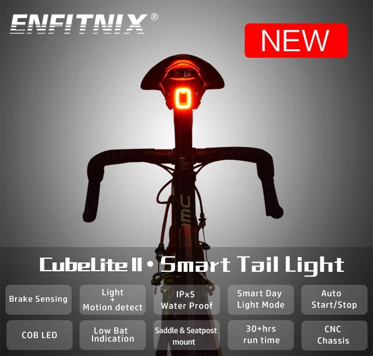 Задние фонари для велосипеда Enfitnix CubeLiteII, интеллектуальный датчик, стоп-сигналы, usb, дорожный велосипед, горный велосипед, Симпатичные задние...