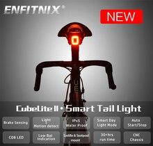 Enfitnix cubelitell luzes traseiras da bicicleta sensor inteligente luzes de freio usb estrada mtb cubelite traseira luzes traseiras