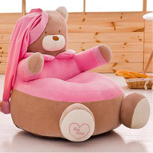Baby Bean Bag Cartoon Crown Seat Sofa Only Cover No Filling Baby Chair Toddler Nest Puff Seat Bean Bag Plush Children Seat Cover red color filling foam ottoman waterproof bean bag feet stool cover only