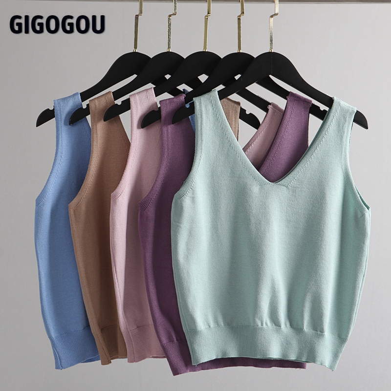 GIGOGOU – ensemble Chic 3 pièces pour femmes, Costume tricoté, couleur unie, Cardigan, pantalon de jogging, débardeur sans manches 4