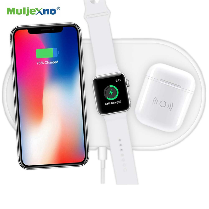 10W Fast Wireless Charging Docking Station For iPhone X XS Max XR AirPower 3 in 1 <font><b>Qi</b></font> Wireless Charger Pad for Apple <font><b>Watch</b></font> 4 3 2 image