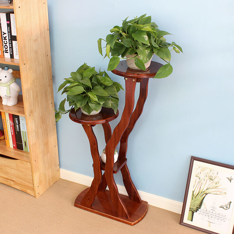 Landing Type Indoor Wooden Solid Wood Flowerpot Balcony Living Room Flower Rack