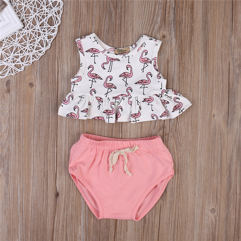 2020 Infant Clothing Newborn Set Kids Baby Girl Clothing Set Sleeveless Flamingo Top T-shirt + Triangle Shorts Outfit