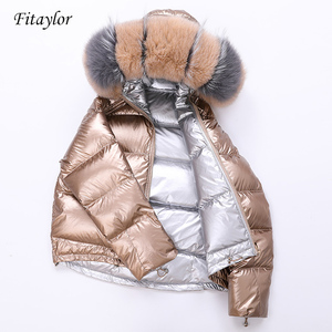 Image 1 - Fitaylor White Duck Down Big Aritificial Fur Parkas Winter Jacket Women Gold Silver Double Side Coat Female Warm Down Oversize