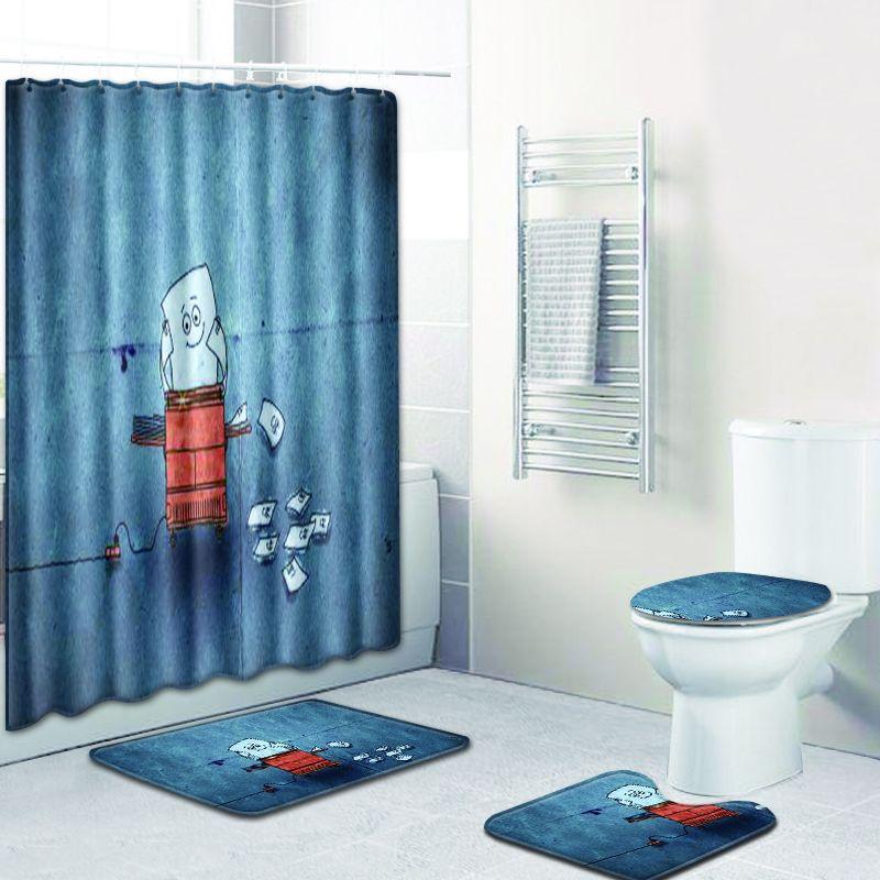 4 pièces/ensemble mode Simple impression salle de bains rideau de douche Polyester imperméable lavable écran de bain toilette siège couverture tapis maison