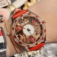 Luxury Brand Butterfly dial watch Crystal Rotatable Watch Waterproof Genuine Leather Women Watches Quartz Reloj Mujer Drop ship