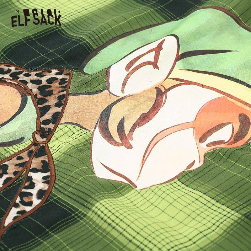 ELF sac Plaid rayé Carton imprimé blouse décontractée chemise haut pour femme 2019 automne vert à manches longues Vintage dames Blouses - 4