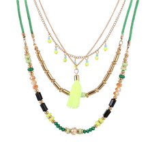 New Bohemian Colorful Beaded Green Chain Long Tassel Pendant Necklace Pompous Multi Layers Summer Beach For Girl Women