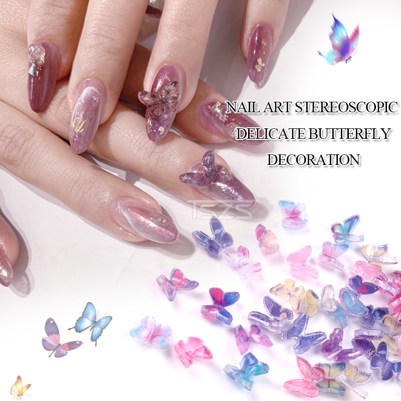 5PCS/LOT Handmade butterfly three-dimensional 3D mini nail butterfly nail art decoration Charms Jewelry Nail Manicure Supplier