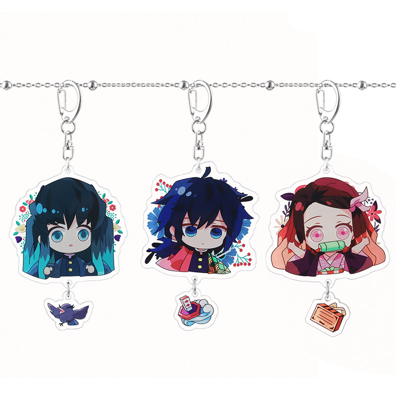 Key Chain Kamado Nezuko Keychain Anime Keyring Acrylic Key Ring Creative Woman Kids Man Girls Cute Demon Slayer Kimetsu No Yaiba