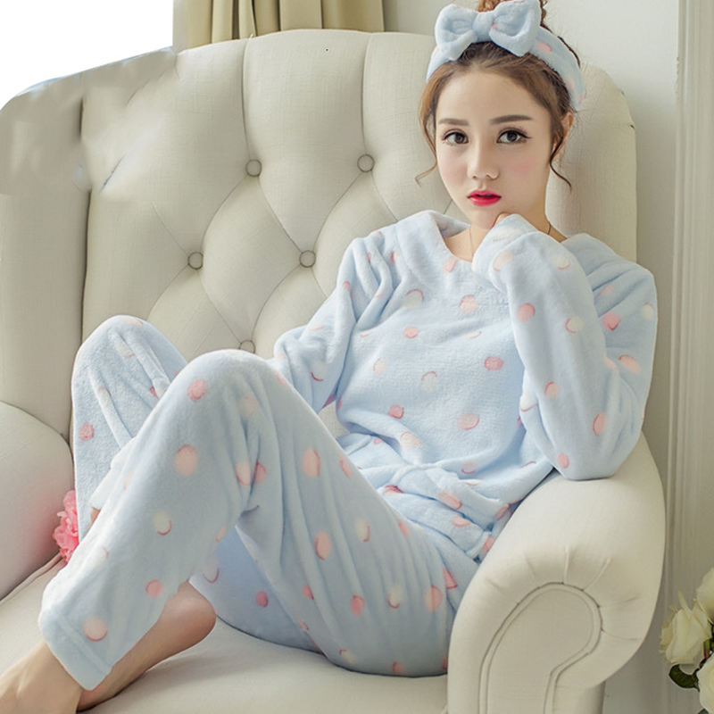 Pyjamas Women Cartoon Pajama Set Winter Pijamas Women Thick Warm Flannel  Pajamas For Women Sleepwear  Pyjama Femme Nightgown