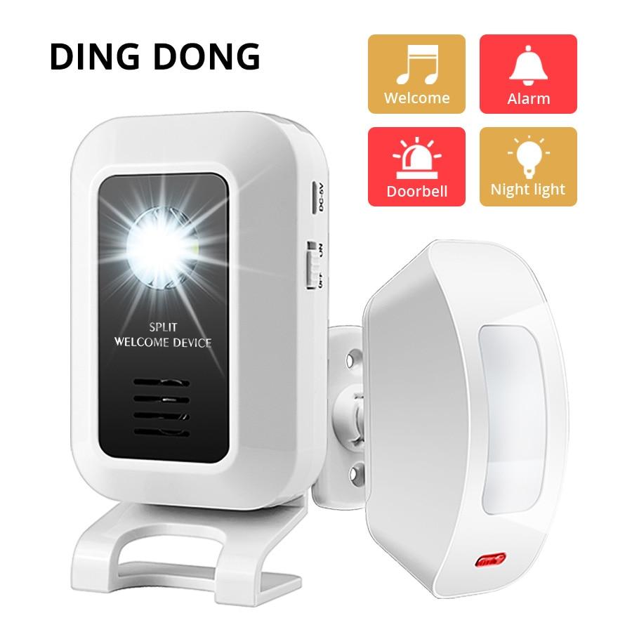FUERS Wireless Guest Welcome Doorbell 433MHz Curtain PIR Motion Sensor Strobe Light Welcome Chime Doorbell Burglar Alarm System