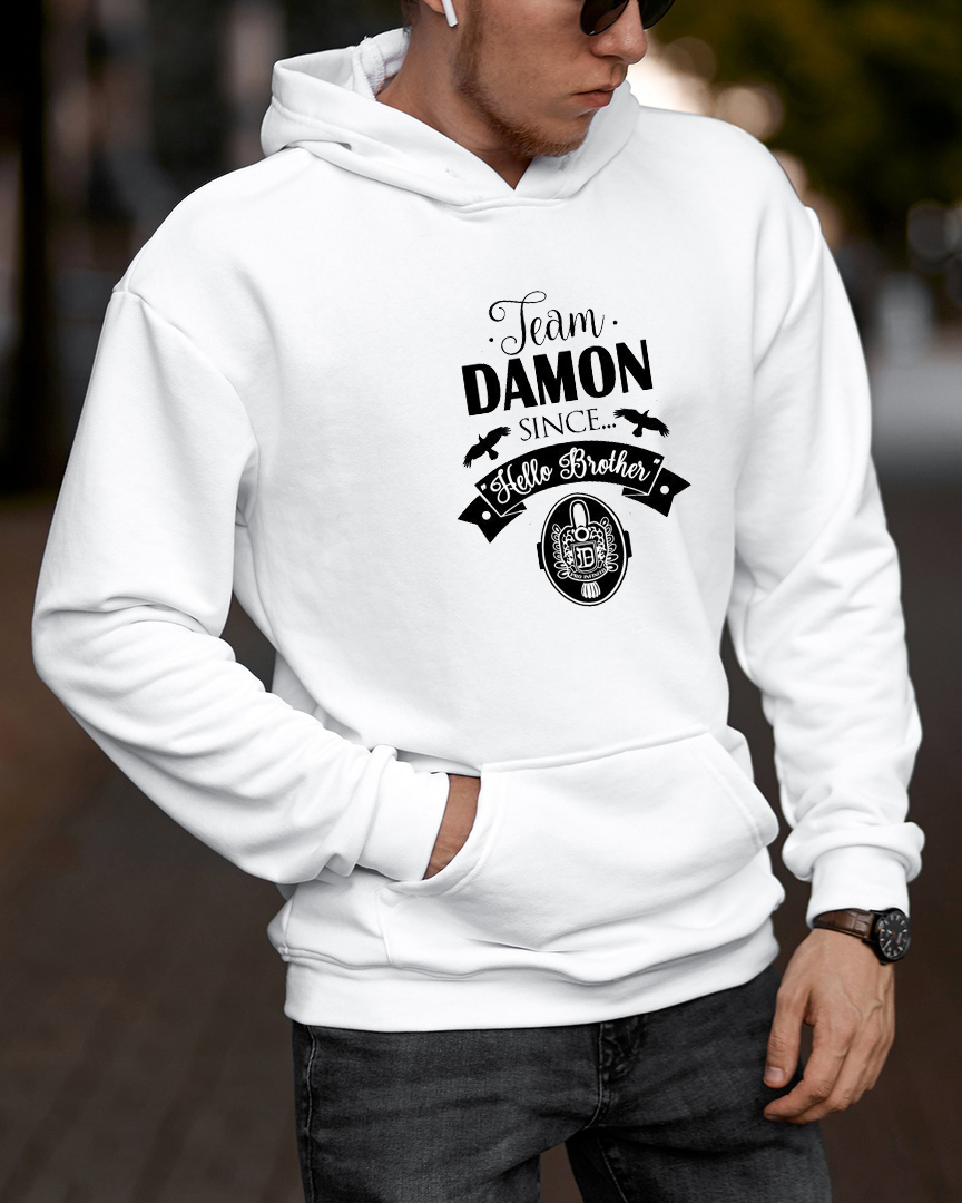 The Vampire Diaries DAMON Hoodies Harajuku Sweatshirt Men Streetwear Hoodie Pink Clothing Ropa Adolescente Winter Clothes Women