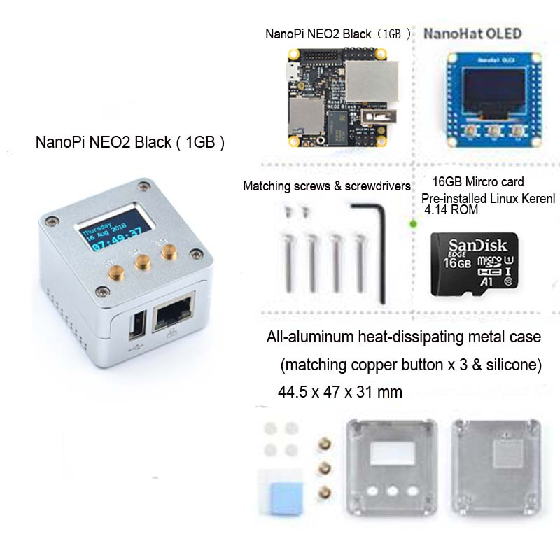 NanoPi NEO2 Black All-aluminum CNC Case Kit With OLED Display Running Ubuntu