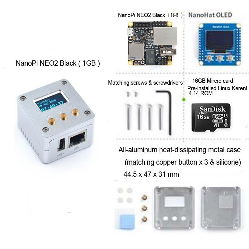 NanoPi NEO2 Black all-aluminum CNC case kit with OLED display running Ubuntu