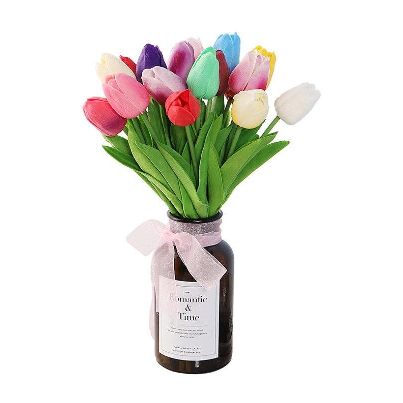 Flor Artificial de tulipán de 35cm, ramo Artificial de tacto Real, flor falsa de PU para decoración del hogar de la boda, 10 Uds.