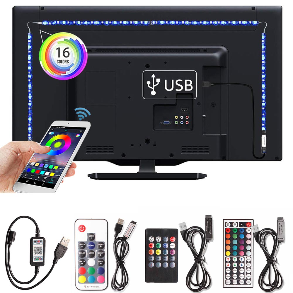 Flexible Neon Strip Led RGB Tape 5050 Ledstrip DC5V TV Background Lighting Kitchen Lamp Led Strip Bluetooth USB Power Supply Set|LED Strips|   - AliExpress