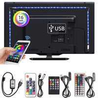 Tira de neón Flexible Led RGB cinta de 5050 Ledstrip DC5V iluminación de fondo de TV lámpara de cocina tira de Led Bluetooth USB conjunto de fuente de alimentación