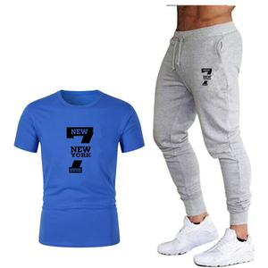 Image 4 - Tide brand LOGO printing mens short sleeved T shirt fashion casual loose T shirt + jogging sports pants 2019 new mens clothing