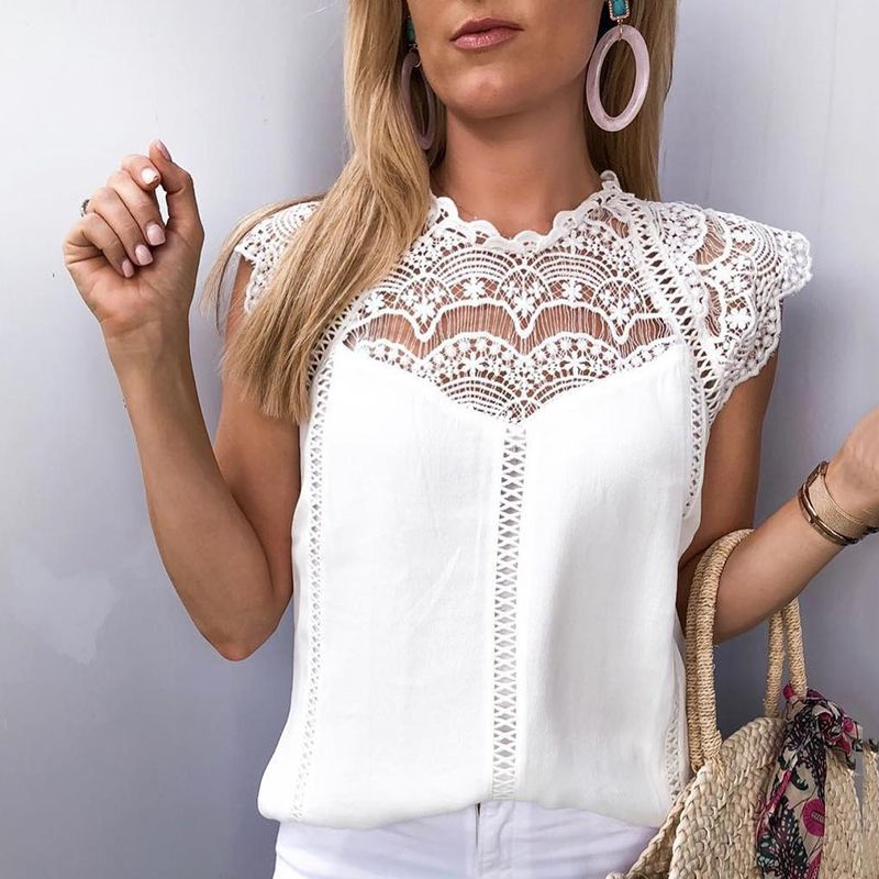 Women's New Style Sexy Straight-barrel Lace Sleeves And Empty-collar Splicing Chiffon Top Chiffon Blouse  Women Blouses  White