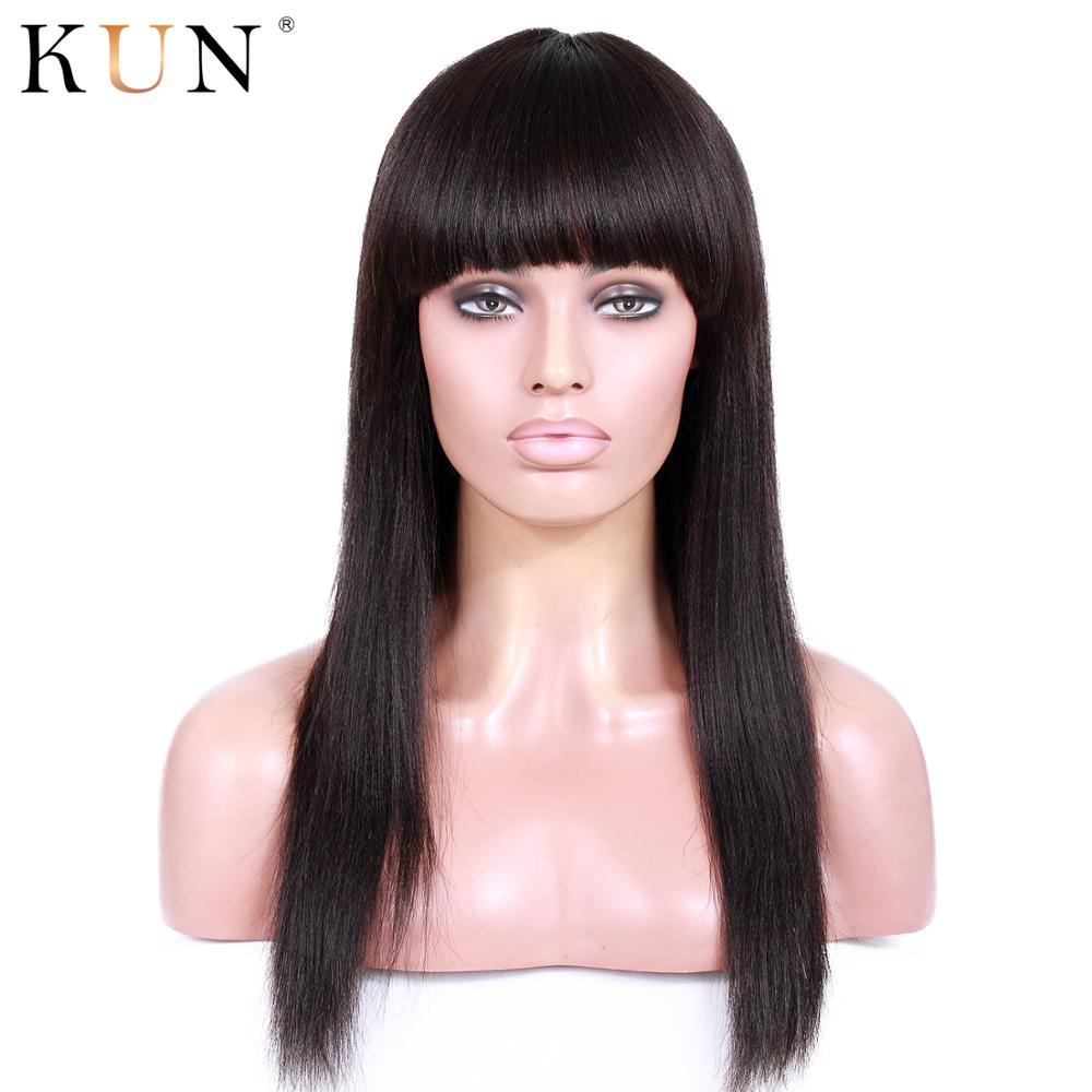 Straight Lace Front Wigs With Bangs 13X6 Lace Front Human Hair Wigs 150% Density Pre Plucked For Women Brazilian Remy KUN Hair