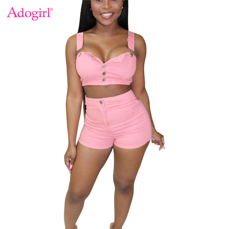 Adogirl Women Fashion Jeans Two Piece Set Buttons Spaghetti Straps Crop Top + Skinny Shorts Sexy Casual Denim Suit Club Outfits