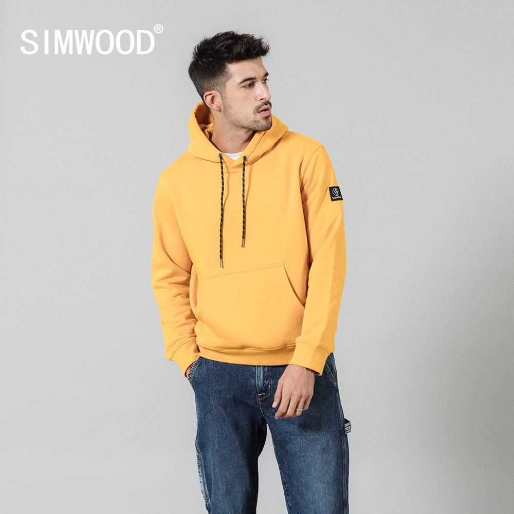 SIMWOOD Fashion Hoodies Men Casual Fleece Solid color Hooded 