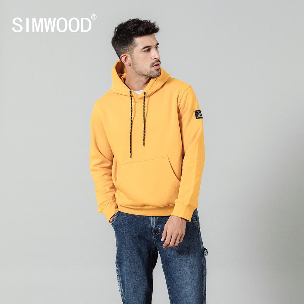 SIMWOOD Fashion Hoodies Men Casual Fleece Solid Color Hooded Streetwear Warm Thick Sweatshirts Jogger Plus Size SI980711