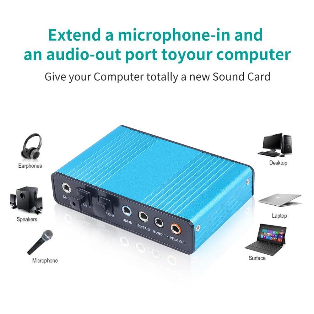 kebidu 5 Professional USB Sound Card 5 Channel 5.5 Optical External  Audio Card Converter CM5205 Chipset for Desktop Tablet