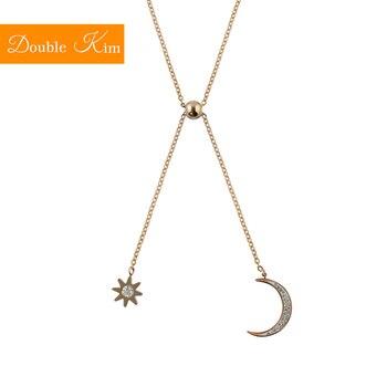 Gwiazda księżyc wisiorek z cyrkonią naszyjnik łańcuch ze stali tytanowej naszyjniki inkrustowane cyrkon różowe złoto moda modna damska biżuteria na prezent