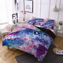 Bedding Set constellations Duvet Cover 2/3pc Purple Galaxy Stars Sun Pillowcase Queen Luxury Home Textiles Brushed Quilt Duvet(China)
