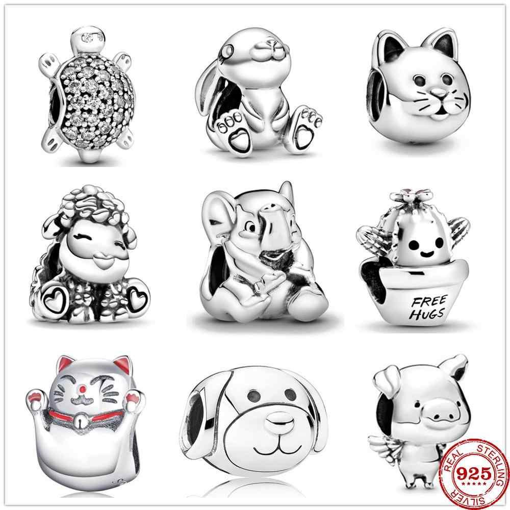 2020 nuovo Animale Sveglio di Fascino del cane del Gatto branello Originale Pandora charms in argento 925 Del Braccialetto trinket gioielli per le donne FAI DA TE che fanno