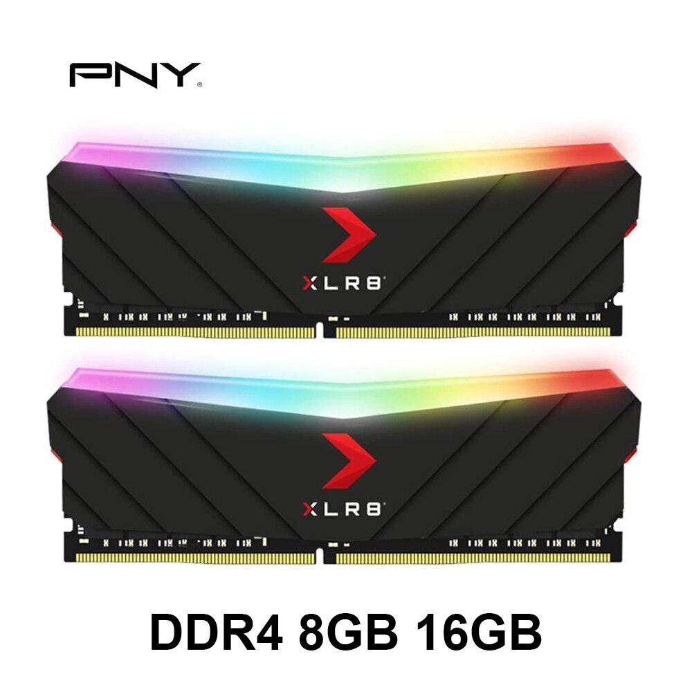 Pny ddr4 ram 8gb 16gb xlr8 gaming epic-x rgb 3200mhz desktop memória cas latência de 16, 1.35 volts suporta intel xmp 2.0