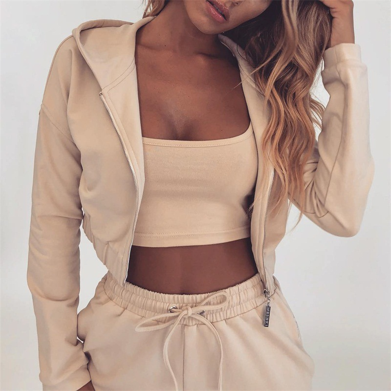 Europe And America Hot Selling Casual WOMEN'S Suit 80248 Cross Border Hot Sales Hoodie Athletic Pants Zipper Two-Piece Set Curre