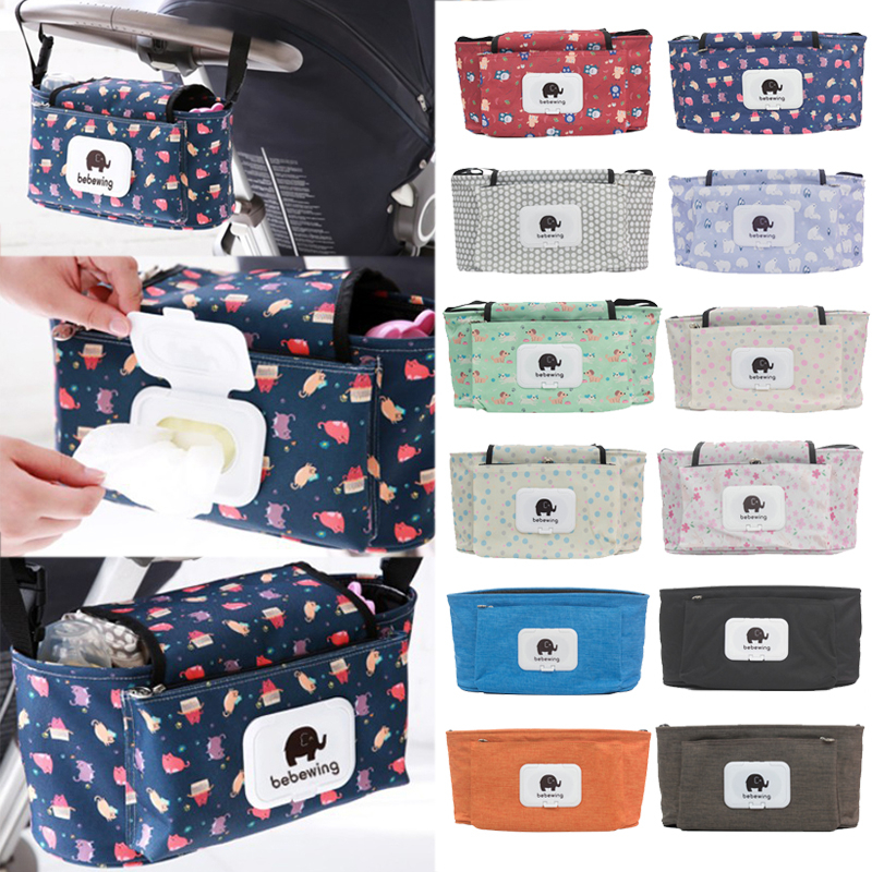 Portable Waterproof Mammy Bags Cartoon Baby Trolley Hanging Bags Travel Picnic Storage Bags Baby Carriage Saddlebag Accessories