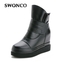 SWONCO Winter Shoes Women Platform Sneakres Black Ankle Boots For Women 2019 Genuine Leather Snow Boots Female Causal Shoes