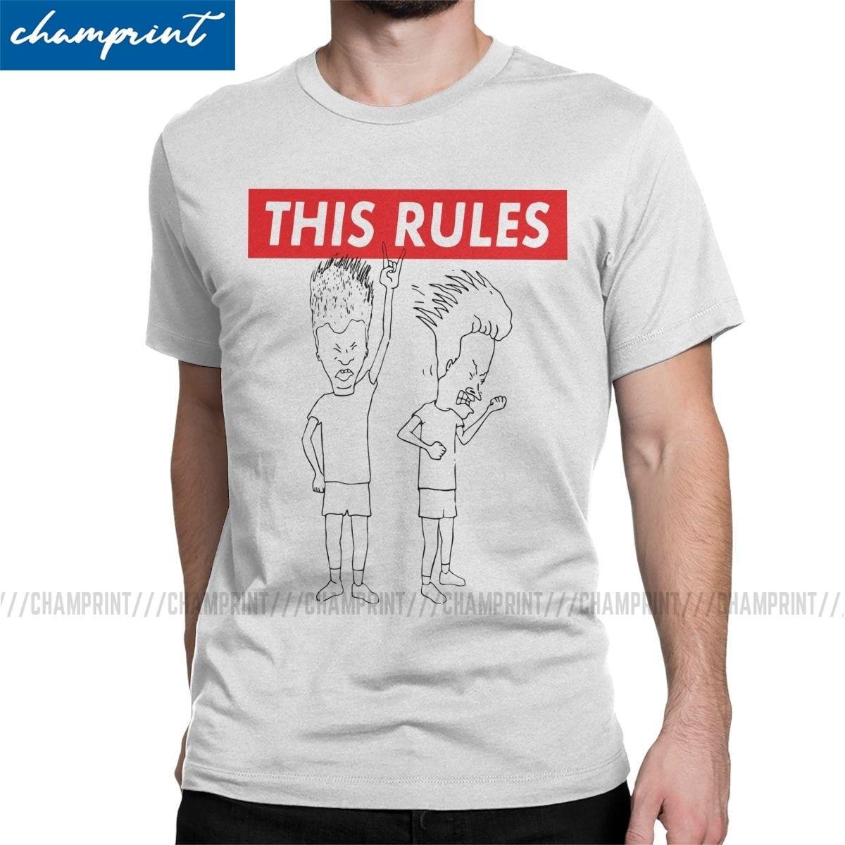 Мужская футболка Beavis с надписью «This Rules», забавная винтажная хлопковая футболка в стиле 90-х с музыкальным принтом BB, новое поступление
