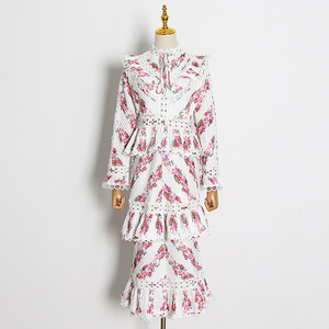 Женское многослойное длинное платье, элегантное Плиссированное кружевное платье в стиле ретро с вырезами и воротником-стойкой