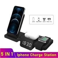 Tongdaytech 5in1 qi carregador sem fio para apple watch 6 5 4 3 2 1 estação doca de carregamento rápido para iphone 8 pus x xs xr 11 pro max