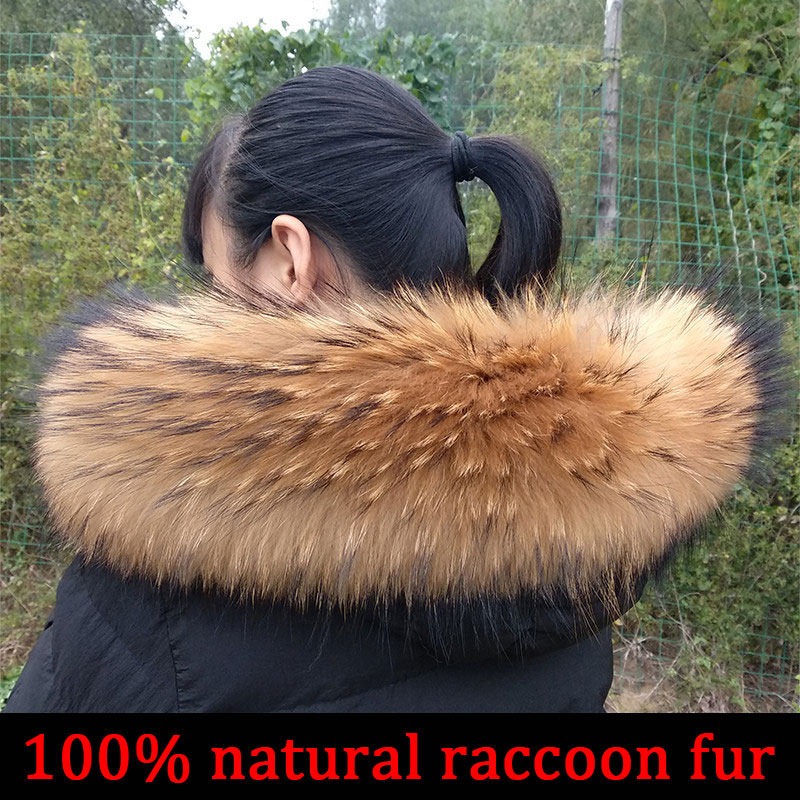 Cllikko 100% Real Fur Collar For Parkas Coats luxury Warm Natural Raccoon Scarf Women Large Fur Collar Scarves Male Jackets coat