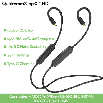 2020 najnowszy QCC5125 ulepszony kabel do słuchawek Bluetooth 5.0 aptx-hd i AptX adaptacyjny do MMCX IE400/IE500 UE/QDC A2DC 2Pin IE40PRO