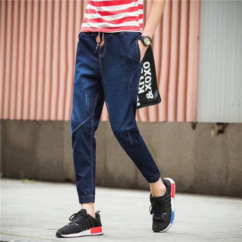 Men's Capri Jeans Spring New Style Closing Ankle Banded Pants Korean-style Men'S Wear Slim Fit Pants 9 Pants Fashion