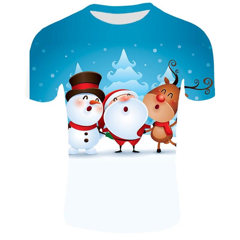 Модные футболки с рождественским узором, мужские Забавные футболки с принтом Санта-Клауса, повседневные 3d футболки, вечерние футболки со снеговиком, одежда с коротким рукавом - Цвет: T4