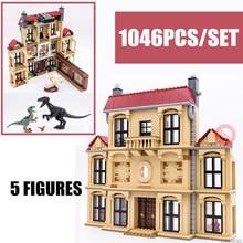 New Dinosaur Indoraptor Rampage Lockwood Estate House Fit Legoings Jurassic World Dragon City Park Building Block Toys Kid Gift