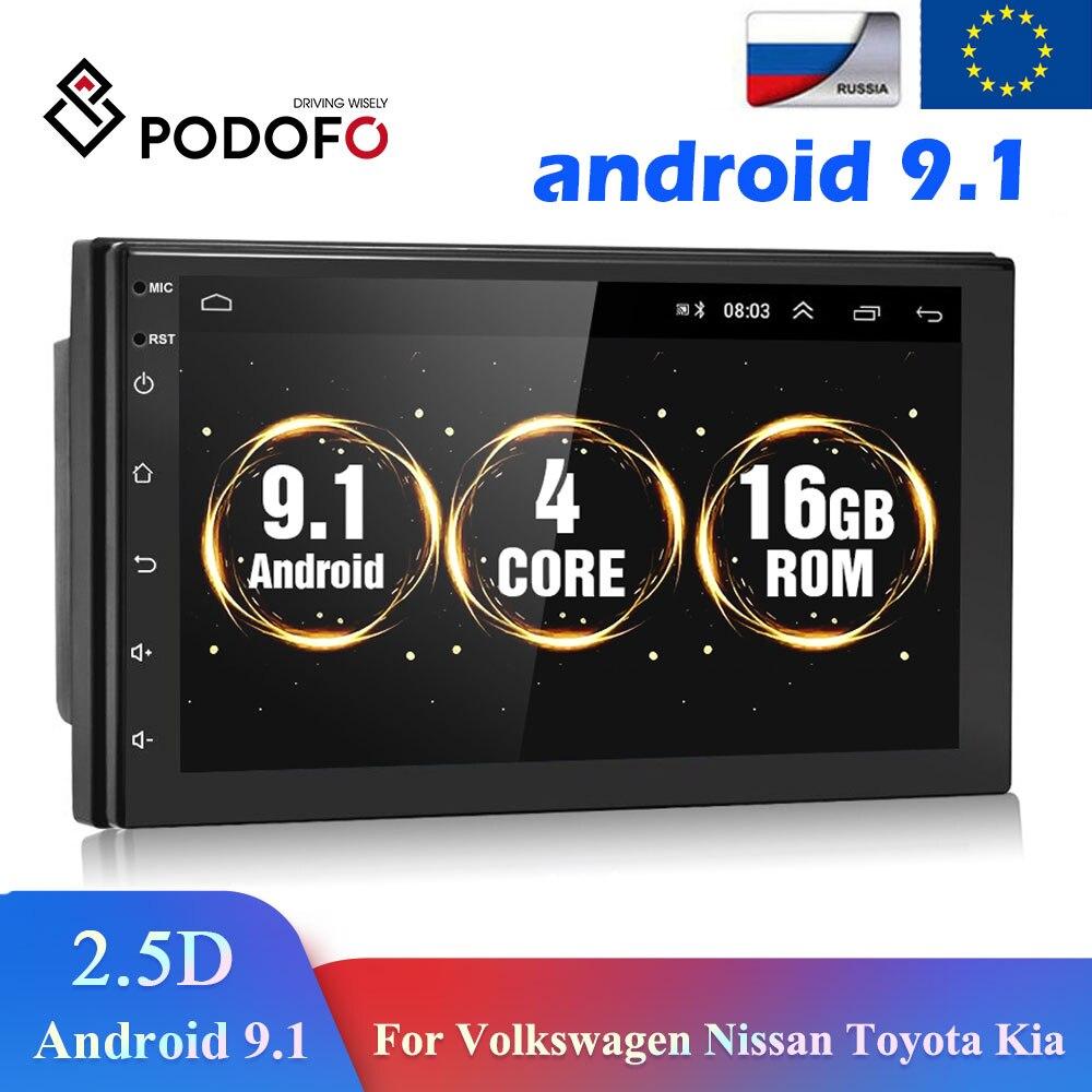 Podofo Android 8.1 2DIN วิทยุรถมัลติมีเดีย GPS Player 2DIN 2.5D สำหรับ Volkswagen Nissan Hyundai Kia Toyota LADA ford