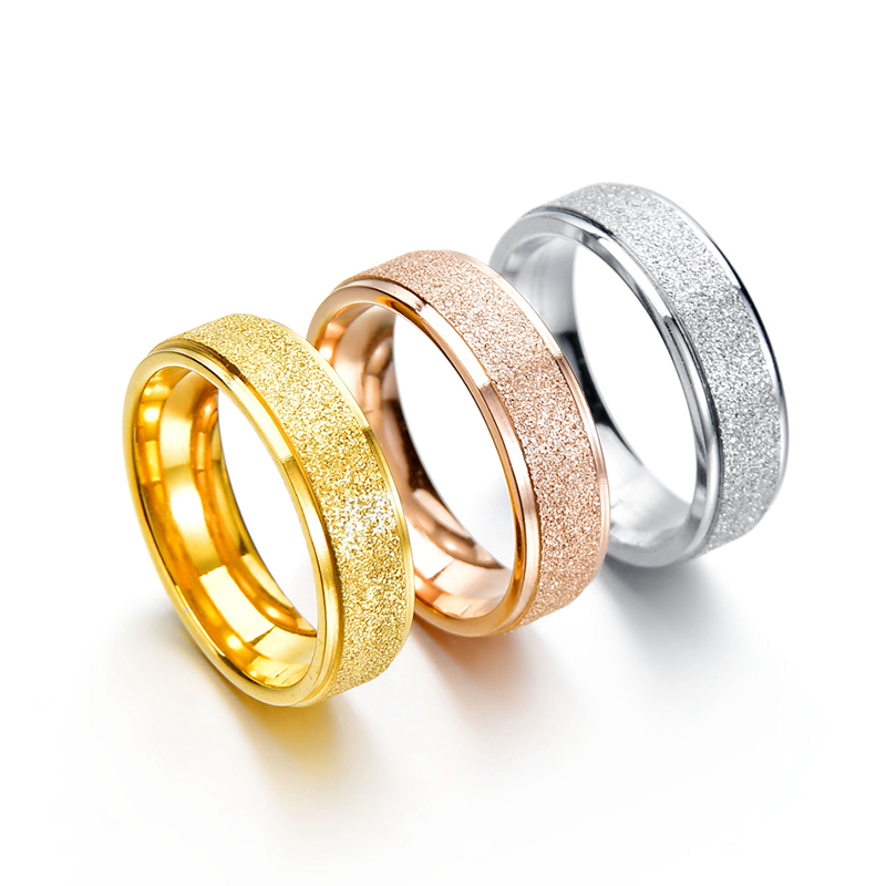 Letdiffery 8mm Bling Crystal Wedding Rings for Couple Golden Stainless Steel Women Ring Sets Men Lovers Jewelry Engagement Gift