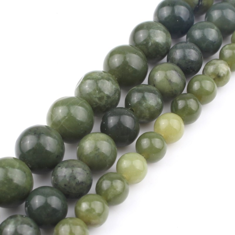 Natural Stone Beads AAA Genuine Canada Jade Beads For Jewelry Making 15inch 6 8 10 12mm Spacer Beads Diy Jewelry in Beads from Jewelry Accessories
